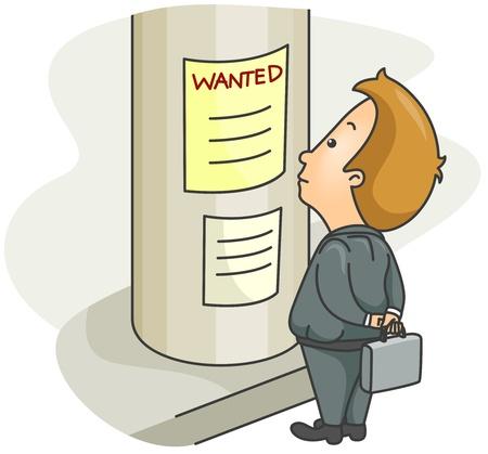 Illustration of a Man Reading a Job Advertisement Stock Illustration - 8492645