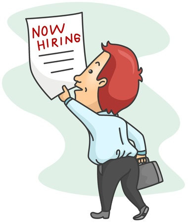 Illustration of a Man Grabbing a Job Advertisement Poster Stock Illustration - 8492642