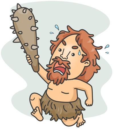 hombre prehistorico: Ilustraci�n de un hombre de las cavernas de carga por delante Foto de archivo