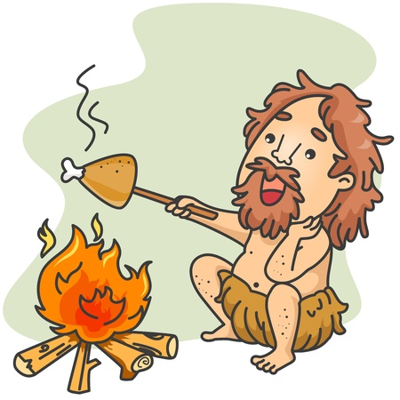 Illustration of a Caveman Roasting a Piece of Chicken illustration