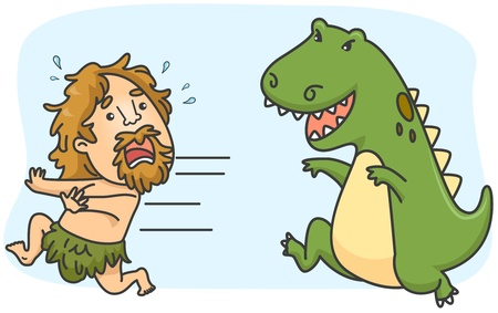 Illustration of a Caveman Running Away from a Dinosaur illustration