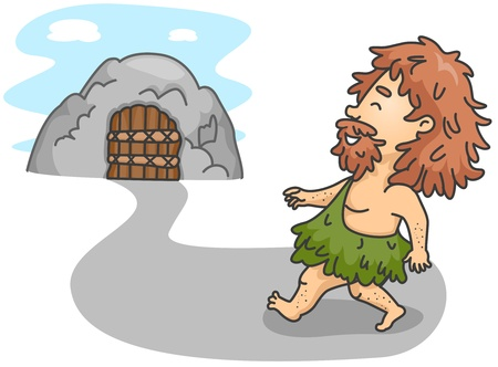 primitive art: Illustration of a Caveman Going Home