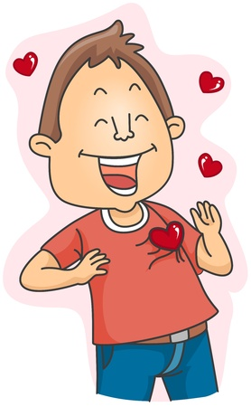 madly: Illustration of a Lovestruck Man Flashing a Big Smile