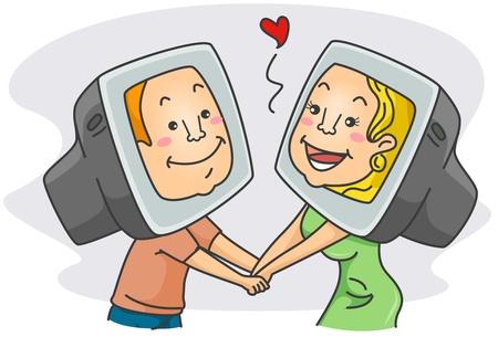 enamorados caricatura: Ilustraci�n de una pareja tener un Romance en l�nea