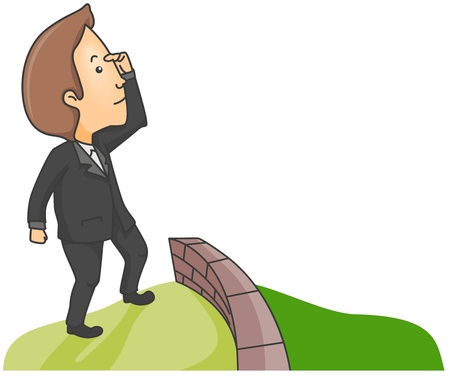 greener: Illustration of a Man Searching for Greener Pasture