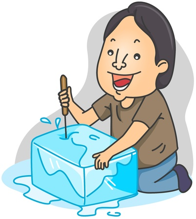 breaker: Illustration of a Man Breaking a Block of Ice Stock Photo