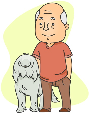 illustration man: Illustration of an Old Man with His Dog Stock Photo