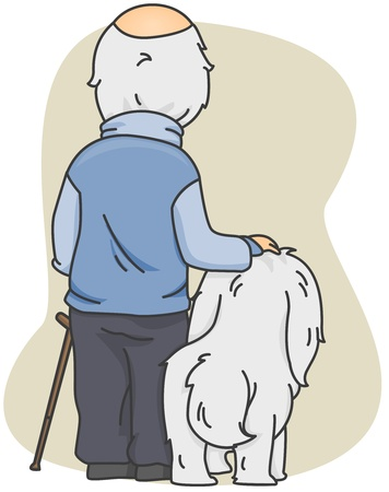 old  age: Illustration of an Old Man with His Dog Stock Photo