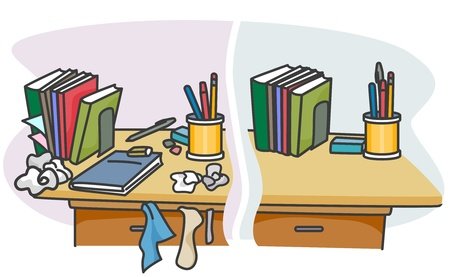 organized: Illustration of a Table with a Dirty and Clean Side