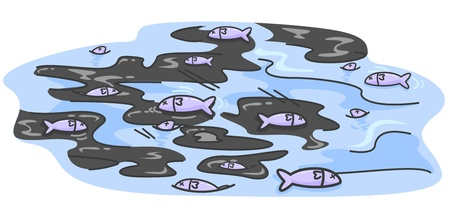 water pollution: Illustration of Dead Fishes Floating Amidst Pools of Oil