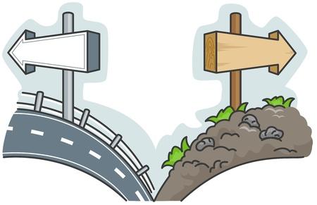 平坦な道と大まかなものとの間の選択肢を提供しての図