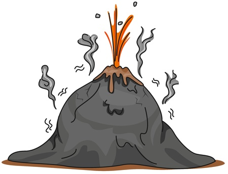 Illustration of a Volcano About to Erupt illustration