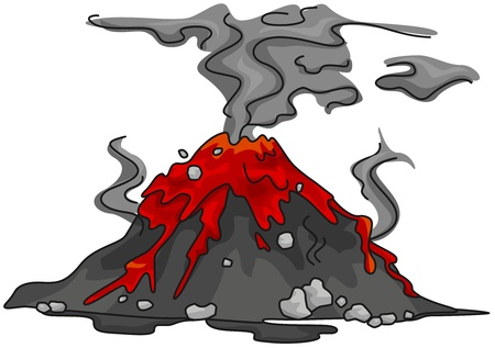 Illustration of a Volcano That Has Just Erupted illustration