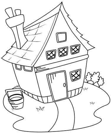 country house style: Line Art Illustration of a Barn House