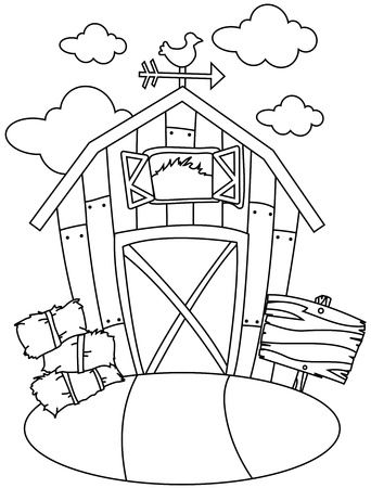 hay bale: Line Art Illustration of a Barn House
