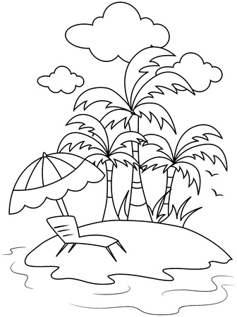 island beach: Line Art Illustration of a Small Isle with a Beach Umbrella and Reclining Chair in Front