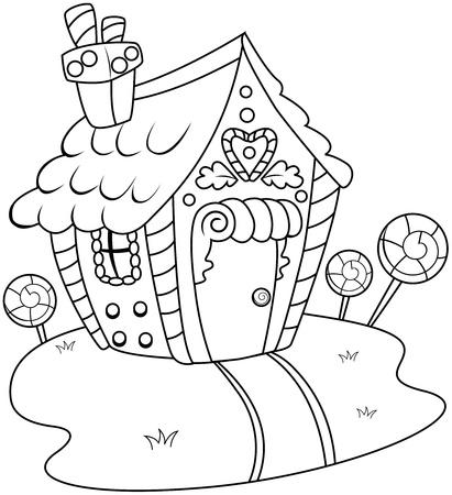 casita de dulces: Arte lineal ilustraci�n de una casa de pan de jengibre