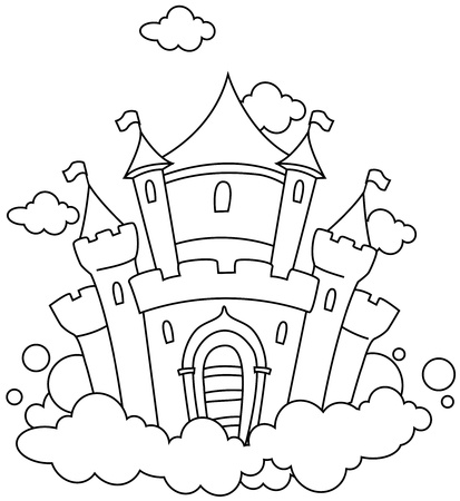 Line Art Illustration of a Castle in the Sky Stock Illustration - 8517163