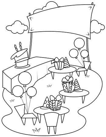 lawn party: Line Art Illustration of a Garden Party Stock Photo
