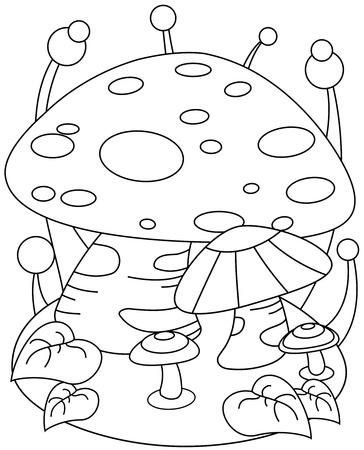 Line Art Illustration of a Giant Mushroom  illustration
