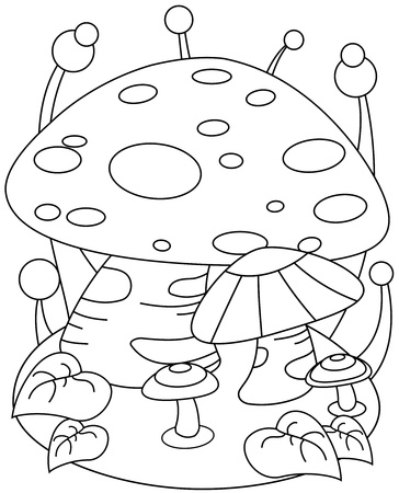 giant mushroom: Line Art Illustration of a Giant Mushroom