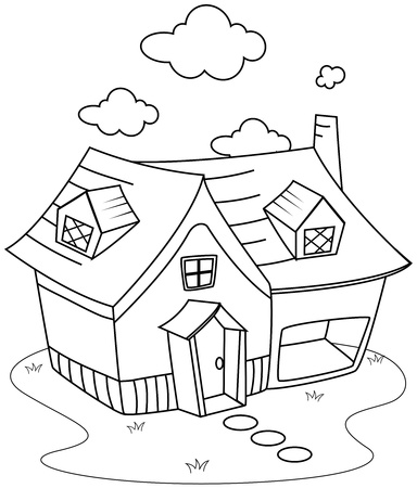 Line Art Illustration of a Cute Little House