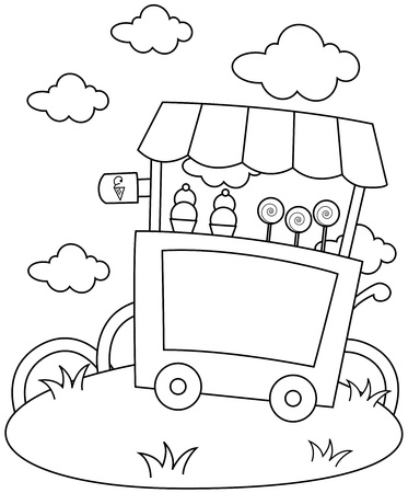 ice cream stand: Line Art Illustration of an Ice Cream Stand