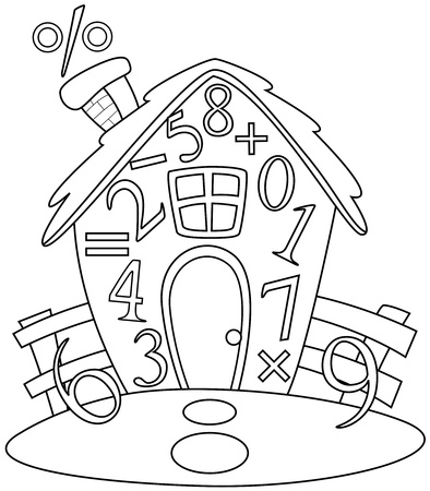 math cartoon: Line Art Illustration of a House Covered with Numbers and Mathematical Symbols