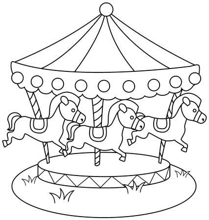 amusement park ride: Line Art Illustration of a Merry Go Round