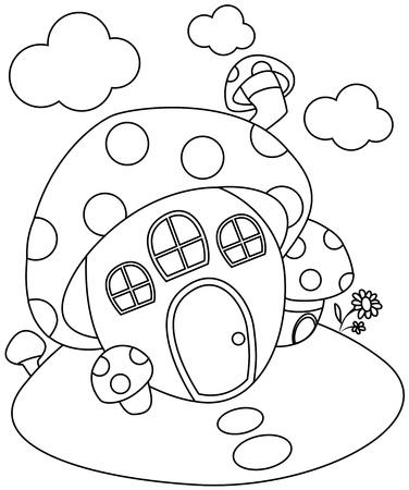 mushroom house: Line Art Illustration of a Mushroom-shaped House  Stock Photo