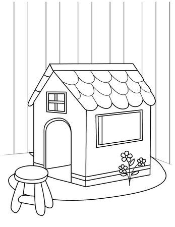 linear art: Line Art Illustration of a Playhouse
