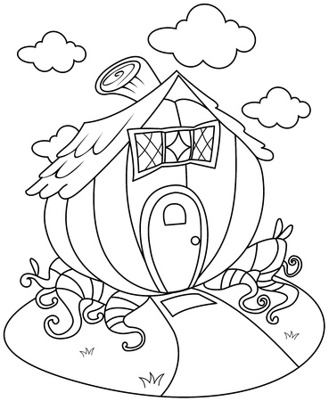Line Art Illustration of a Pumpkin-shaped House  illustration