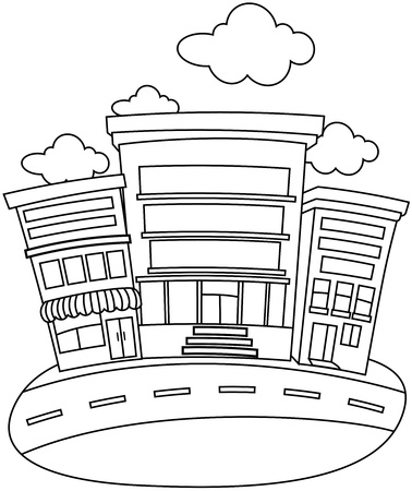 urban area: Line Art Illustration of a Building Facing a Street Stock Photo