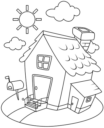 Line Art Illustration of a Small House Complete with a Sunny Backdrop illustration