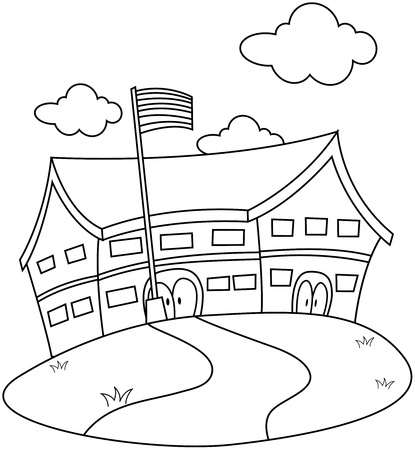 flagpoles: Line Art Illustration of a School Complete with a Cloudy Sky Background Stock Photo