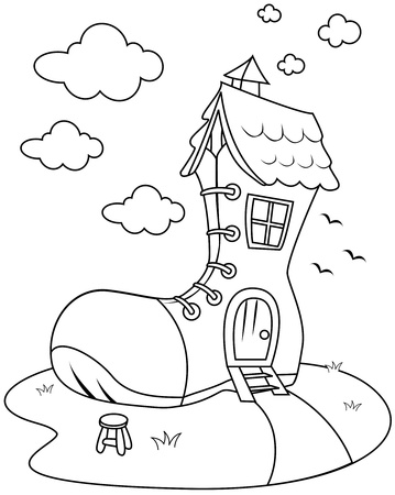 rhyme: Line Art Illustration of House SHaped Like a Giant Shoe Stock Photo
