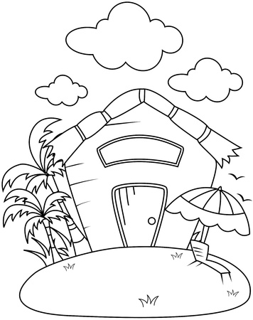 Line Art Illustration of a Small Rest House Stock Illustration - 8517175