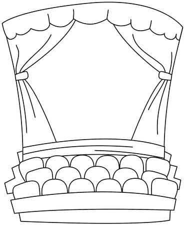 Line Art Illustration of an Empty Theater illustration