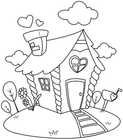 linear art: Line Art Illustration of a Small House with a Valentine Theme Stock Photo