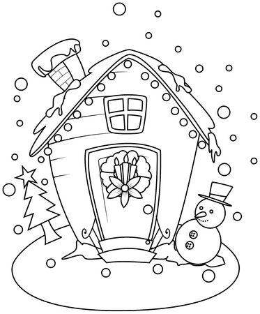 Line Art Illustration of a Small House with a Christmas Theme illustration