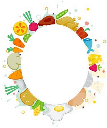 Illustration of a Frame Featuring Different Kinds of Food