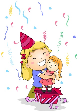 she: Illustration of a Little Girl Hugging the Gift She Received