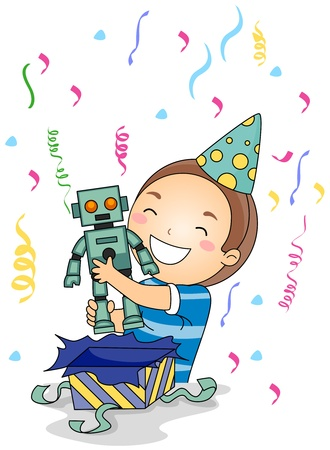 received: Illustration of a Little Boy Hugging the Gift He Received