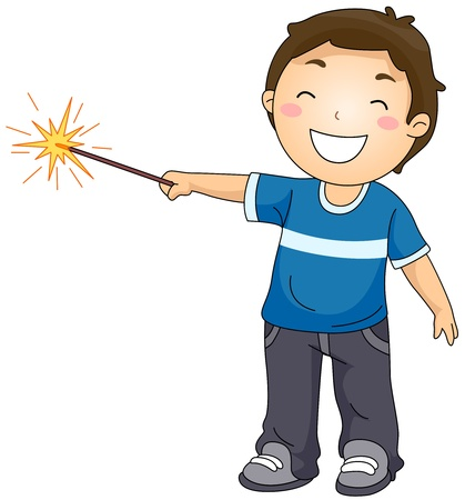 sparkler: Illustration of a Little Boy Playing with a Sparkler Stock Photo