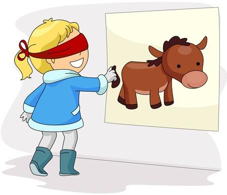 ojos vendados: Ilustración de una niña con los ojos vendados, jugando la cola del burro de Pin