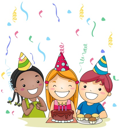 party hats: Illustration of a Birthday Celebrant About to Blow Her Candles