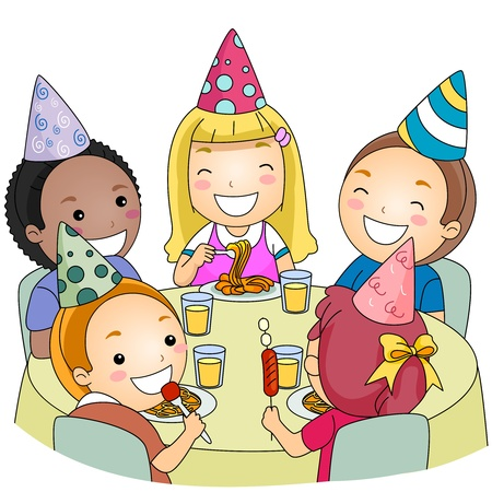 feasts: Illustration of a Group of Kids Eating at a Party Stock Photo