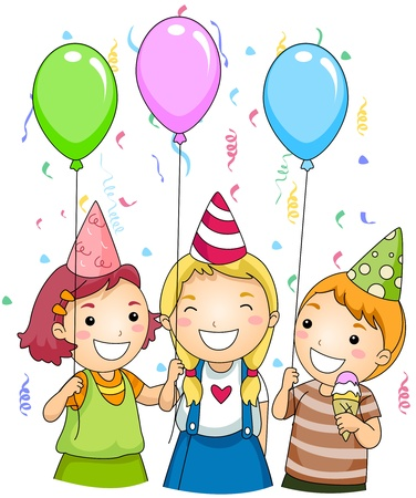Illustration of Kids Holding Colorful Balloons at a Party Stock Illustration - 8550080