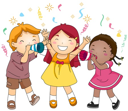 illustration of kids: Illustration of Kids Blowing Paper Trumpets in Celebration of the New Year Stock Photo