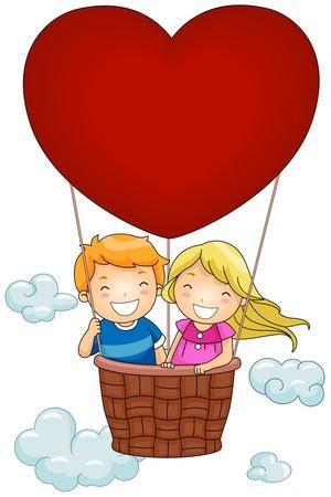 Illustration of Kids Riding a Valentine-themed Hot Air Balloon illustration